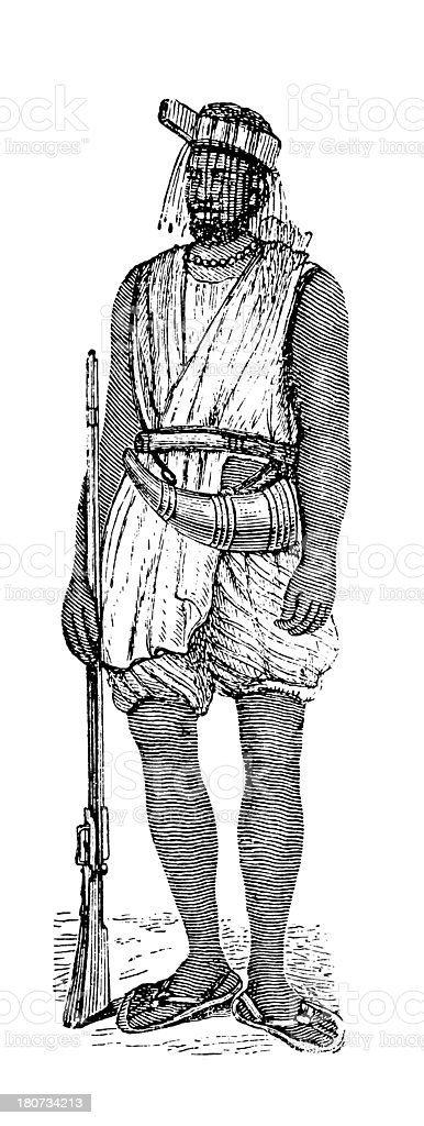 Warrior of the Wolof Empire, West Africa (antique wood engraving) royalty-free stock vector art