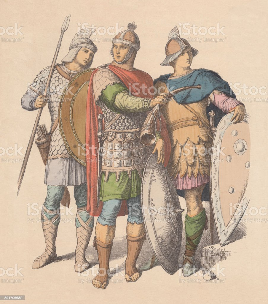 Warriors of the Byzantine Empire, hand-colored wood engraving, published c.1880 vector art illustration