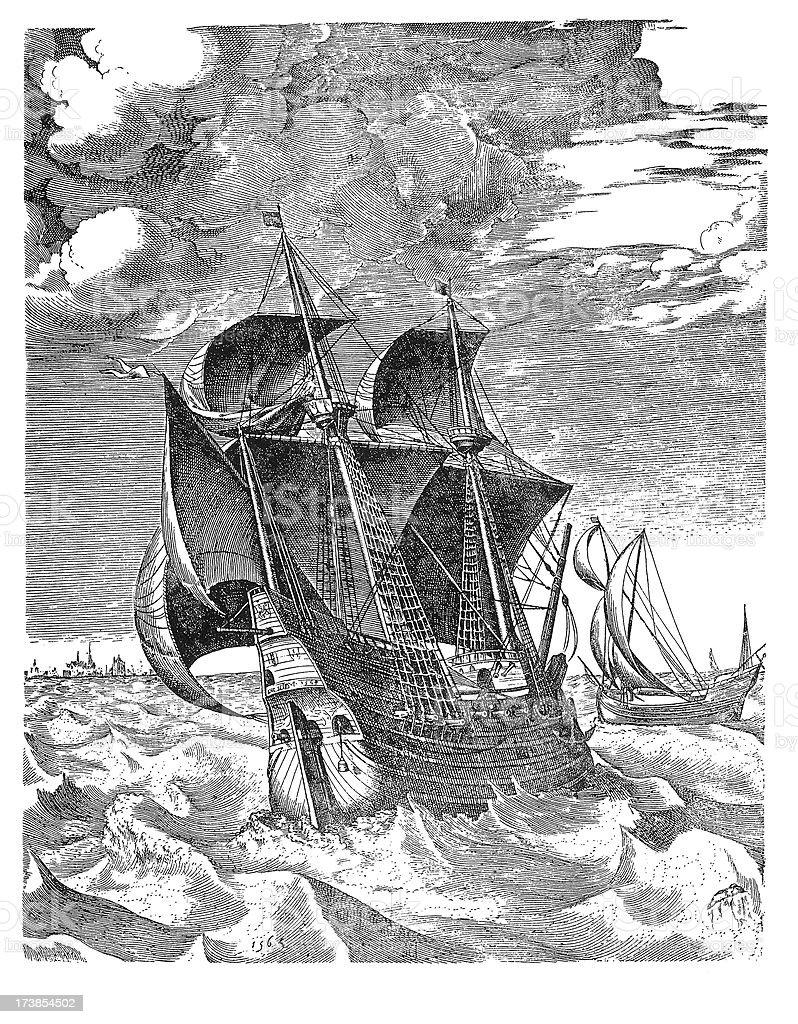 Warship royalty-free stock vector art