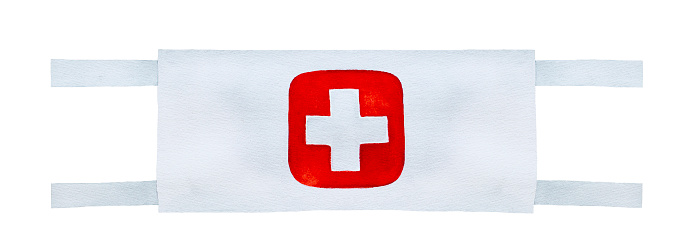 Wartime style medic armband to wear around upper arm.