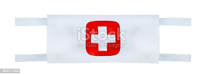 Textile material, white in colour with embroidered cross mark at center. Hand drawn watercolour drawing on white background, cut out clip art.