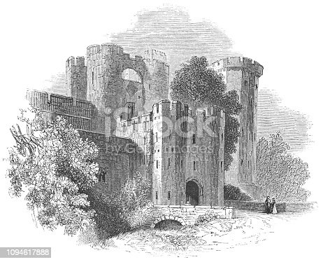Warwick Castle at the town of Warwick in Warwickshire, England from the Works of William Shakespeare. Vintage etching circa mid 19th century.