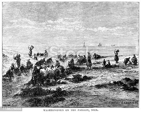 "Rows of women washing their laundry along the edge of the Paillon, a coastal river which enters the sea in Nice in the Alpes-Maritimes department, Provence-Alpes-Côte d'Azur, France. From ""French Pictures: Drawn With Pen and Pencil"" by the Rev. Samuel G. Green, D.D. Published by The Religious Tract Society, London, 1878."