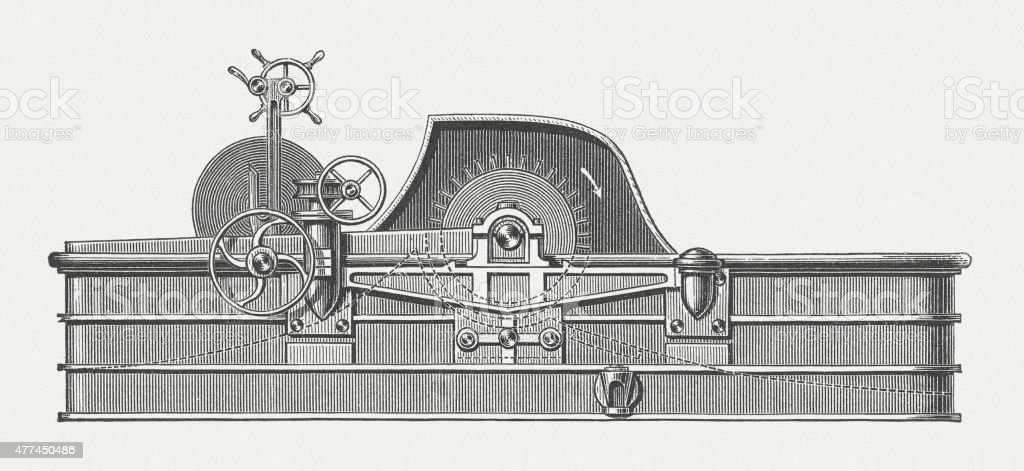 Washing and bleaching apparatus, wood engraving, published in 1877 vector art illustration