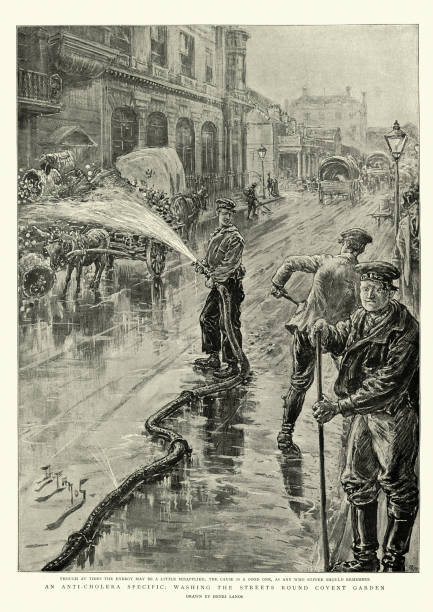 Washing streets of London with antiseptic during cholera pandemic, 1890s vector art illustration