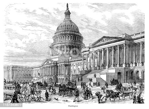 Steel engraving Washington Capitol Building USA Original edition from my own archives Source :