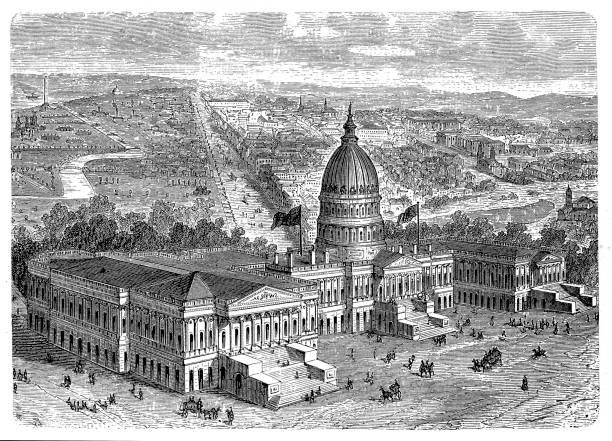 Washington Capitol Illustration of a Washington Capitol 1880 stock illustrations