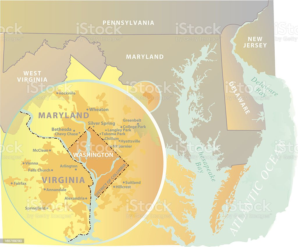 Washington Dc Metro Area Map Inset Stock Vector Art More Images Of
