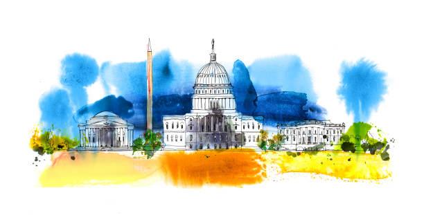 워싱턴 dc입니다. 화이트 하우스와 방첩 탑입니다. 화려한 물 컬러 효과 함께 스케치 구성 - white house stock illustrations