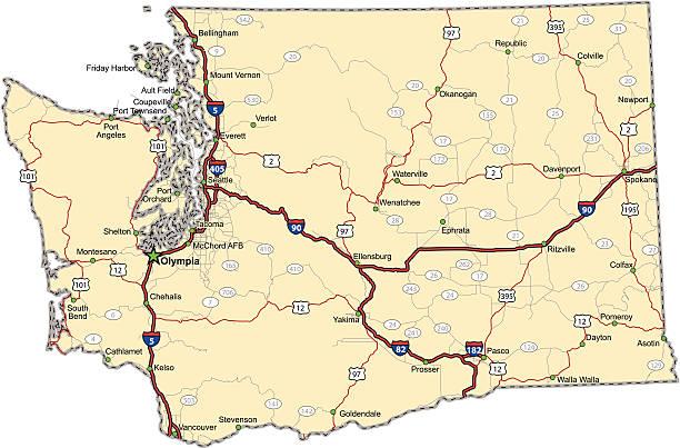 Washington Highway Map (vector) vector art illustration