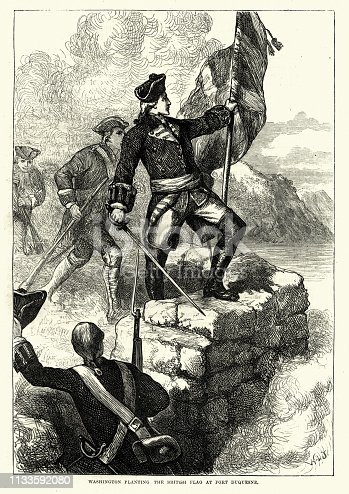 Vintage engraving of George Washington planting the British flag at Fort Duquesne, 18th Century.