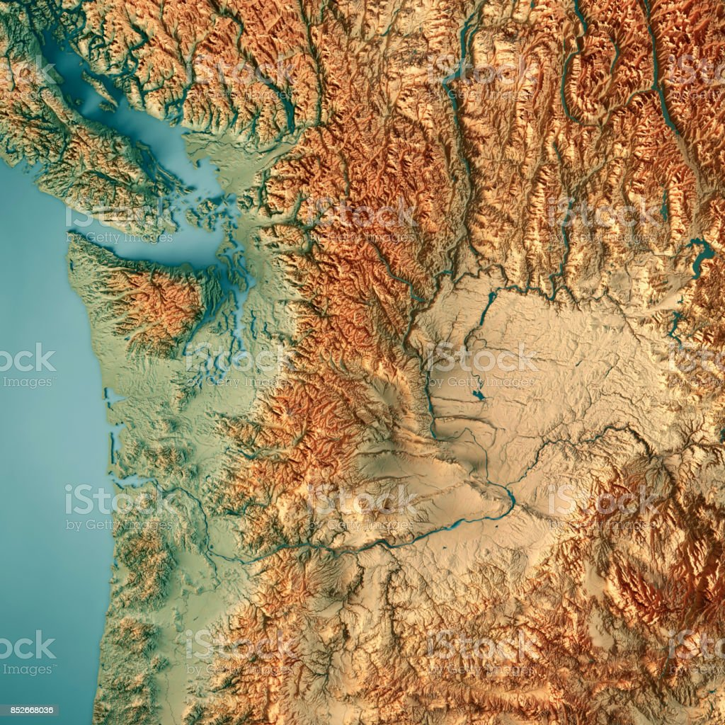 3d Topographic Map Of Usa.Washington State Usa 3d Render Topographic Map Border Stock Vector