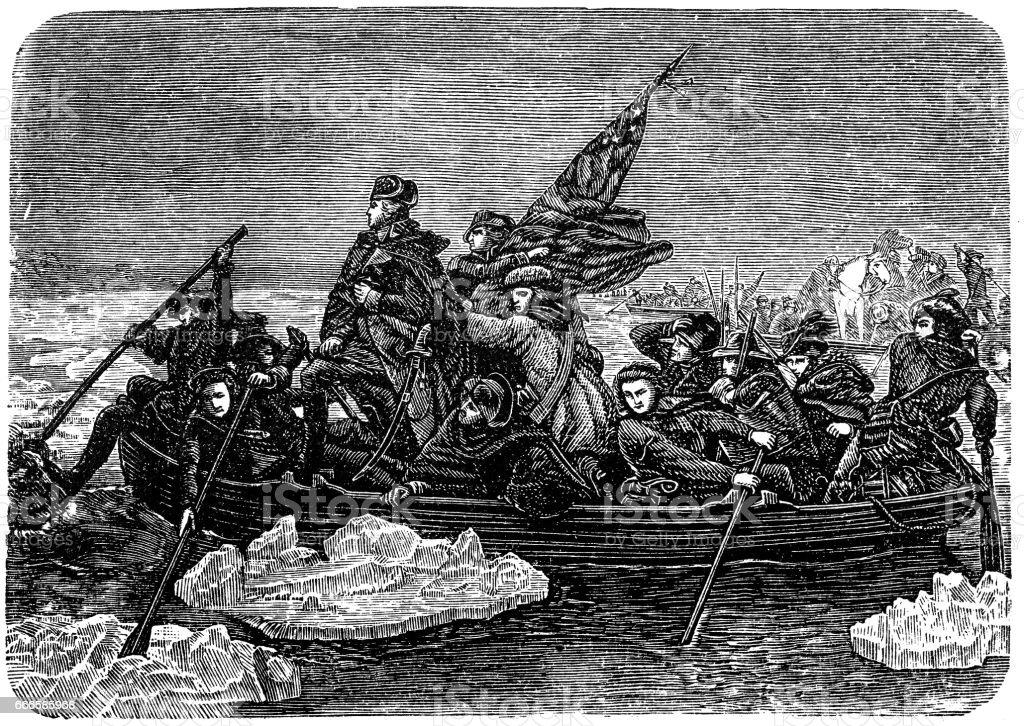 Washington's transition over the Delaware vector art illustration
