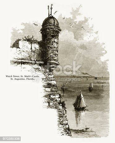 Very Rare, Beautifully Illustrated Antique Engraving of Watch Tower, St. Mark's Castle, St. Augustine, Florida, United States, American Victorian Engraving, 1872. Source: Original edition from my own archives. Copyright has expired on this artwork. Digitally restored.
