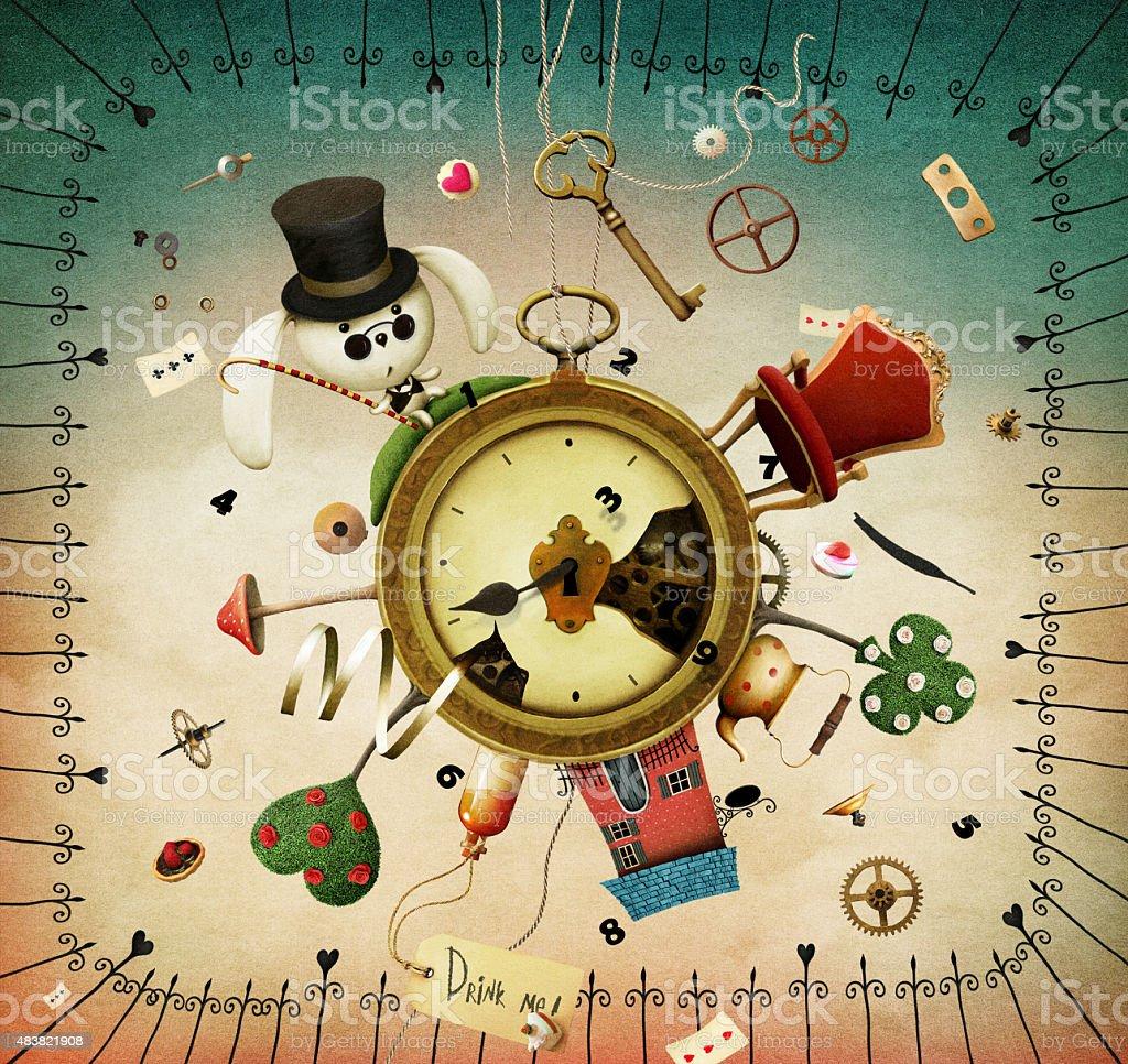 Articoli favolosi orologi con - illustrazione arte vettoriale