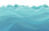 Abstract grunge illustration of waves with free place for your design. Large JPG included. All objects are grouped for easy editing.