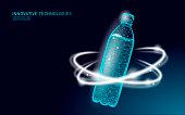 istock 3D water bottle polygonal banner. Aqua liquid package. Plastic transparent drink full beverage clean natural artesian drinking water. Low poly dark modern design vector illustration 1185831422