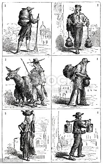 1= France, 2= Spain, 3= Peru, 4=Mexico, 5 = Egypt, 6= Norway; Illustration from 19th century