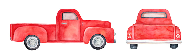 Handdrawn watercolour sketchy illustration on white background, cut out clipart elements.