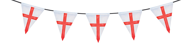 Water color drawing of festive bunting with triangular flag of England with St. George's Cross. Hand painted watercolour sketchy illustration on white, cut out clip art element for design and decor.