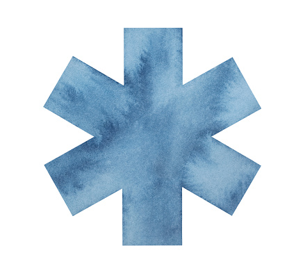Water color drawing of navy blue Star of Life. Symbol of emergency service. Hand drawn watercolour grungy illustration on white background, cut out clip art element for design, label, card, sticker.
