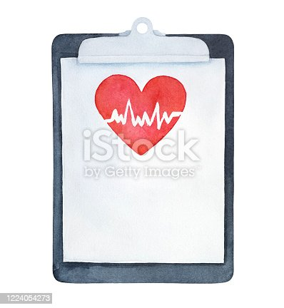 istock Water color illustration of medical clipboard with red heart image and heartbeat. Hand painted watercolour sketchy drawing on white, cutout clip art element for design, banner, print, card, poster. 1224054273