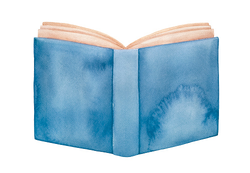 Water color illustration of opened book with blank blue cover and pages with light brown paper. One single object. Hand drawn watercolour graphic paint, cutout clip art element for creative design.