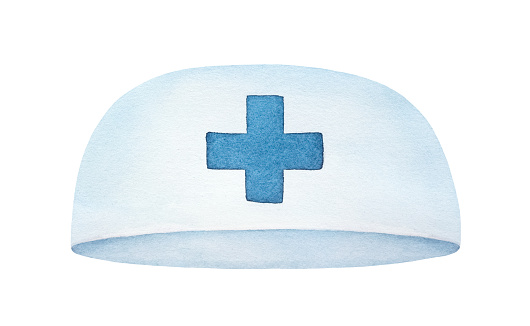 Water color illustration of white medical cap with blue cross sign. One single object, front view. Handdrawn watercolor painting on white backdrop, cut out clip art element for design, banner, card.