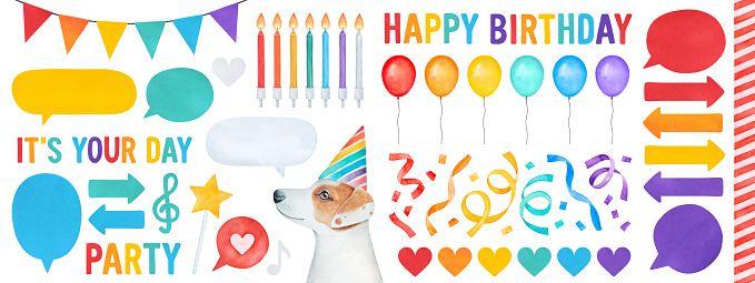"""Water color illustration set of colorful """"Happy Birthday"""" elements on white background: little puppy with party hat, air balloons, birthday cake candles, streamers, love heart shape, music notes, etc."""