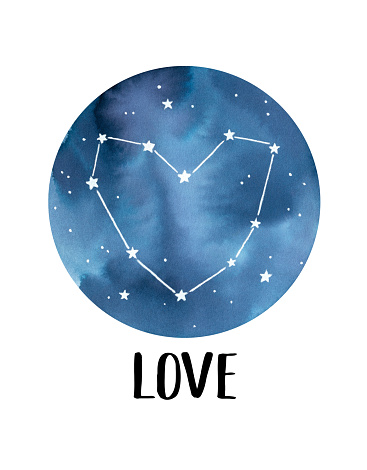 """Water color poster with round navy blue starry sky, glowing stars, beautiful love heart constellation and text word """"Love"""". Hand painted watercolour graphic drawing for design, card, t-shirt print."""