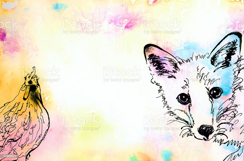 Water Colour Hen&Fox royalty-free water colour henfox stock vector art & more images of animal