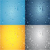 Water drops background in 4 different colors.