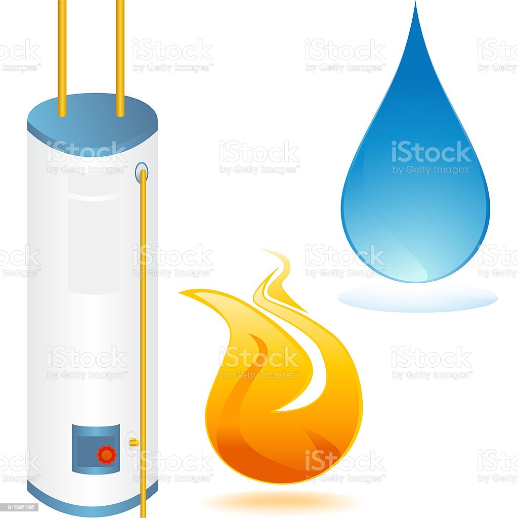Water heater with element icons vector art illustration