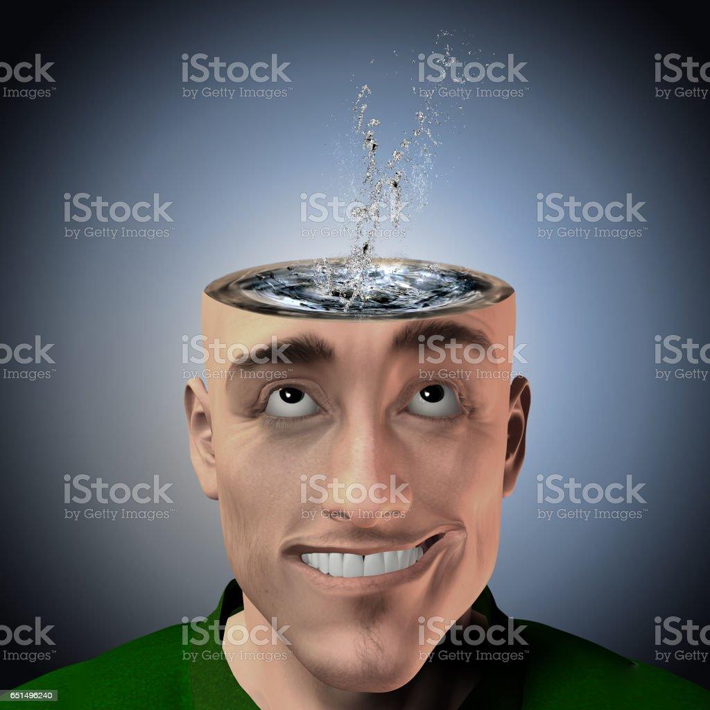 Water inside head splash vector art illustration