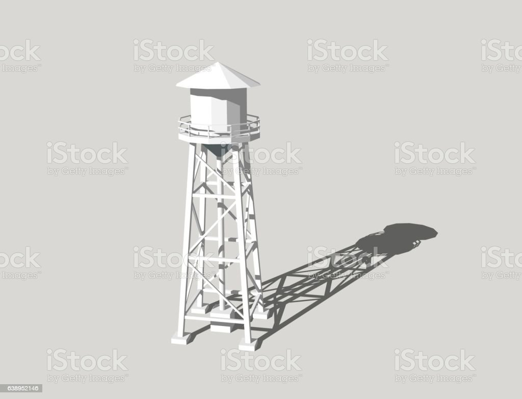 Water tower.Isolated on grey background.3D rendering illustration. vector art illustration
