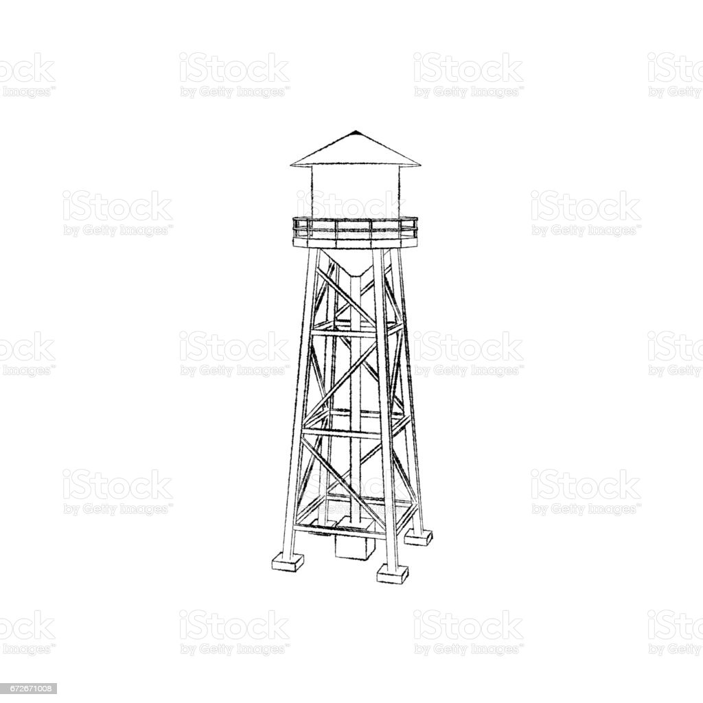 Water tower.Isolated on white background. Sketch illustration. vector art illustration
