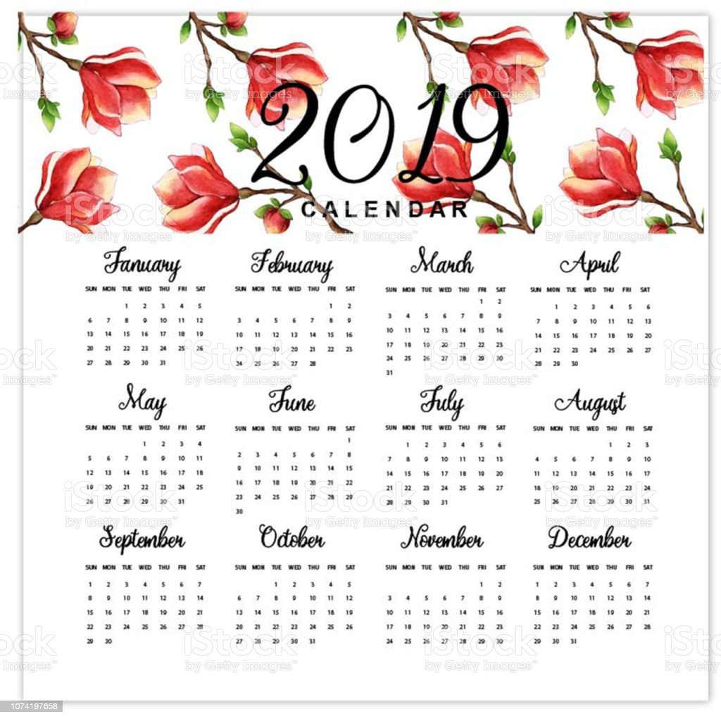 2019 2020 Floral Desk Calendar: Watercolor 2019 Floral Calendar Stock Illustration