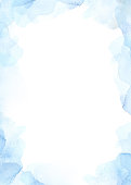 Watercolor abstract background with Blue splashes. Winter mood. Perfect for invitations, greeting cards, quotes, blogs, Wedding Frames, posters, prints