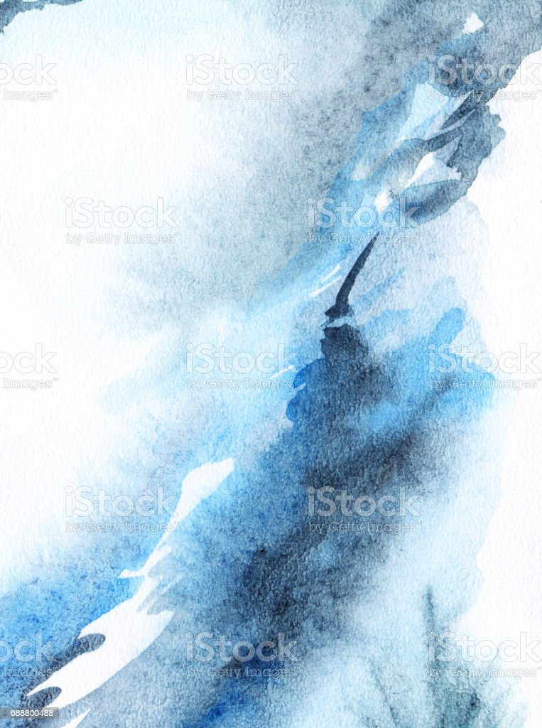 Watercolor Abstract Navy Blue White Background Texture Royalty Free