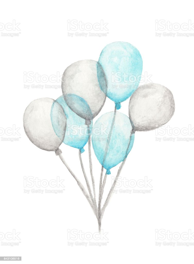 Watercolor air balloons. Hand drawn pack of party blue and white balloons isolated on white background. Greeting object art vector art illustration