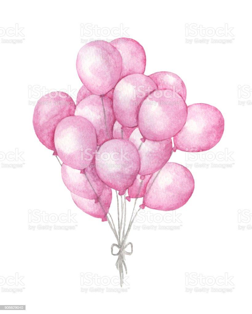 Aquarelle de montgolfières. La main dessinée pack de ballons de fête rose isolé sur fond blanc. Accueil art objet - Illustration vectorielle