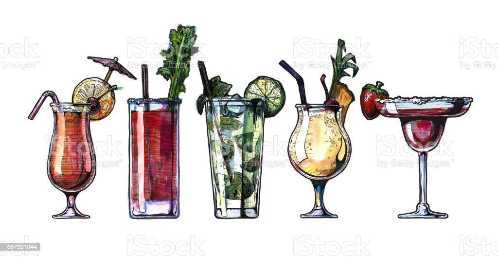 watercolor alcohol cocktails set vector art illustration