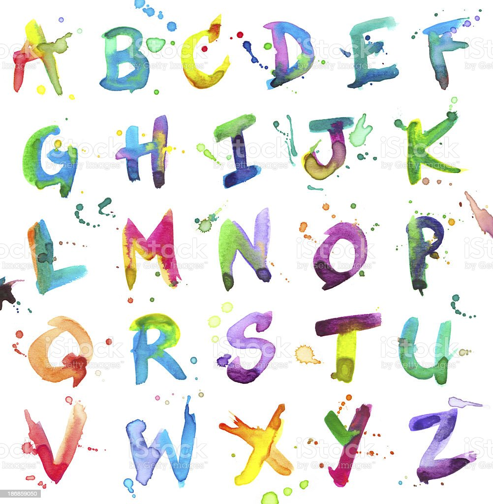 Watercolor Alphabet vector art illustration