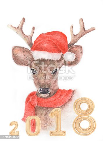 istock Watercolor and color pencil  illustration of deer 878052572