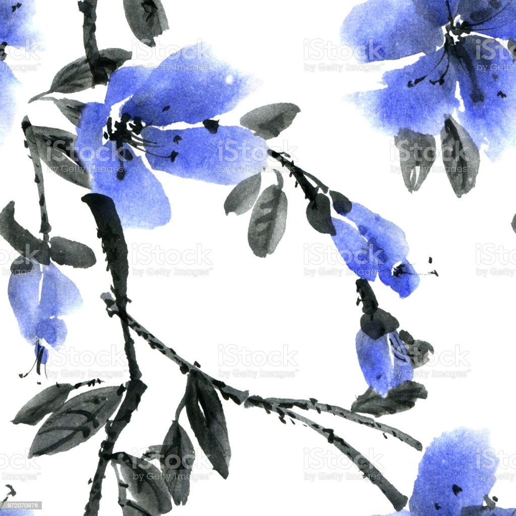Watercolor and ink illustration of blossom tree with blue flower watercolor and ink illustration of blossom tree with blue flower royalty free watercolor and ink izmirmasajfo