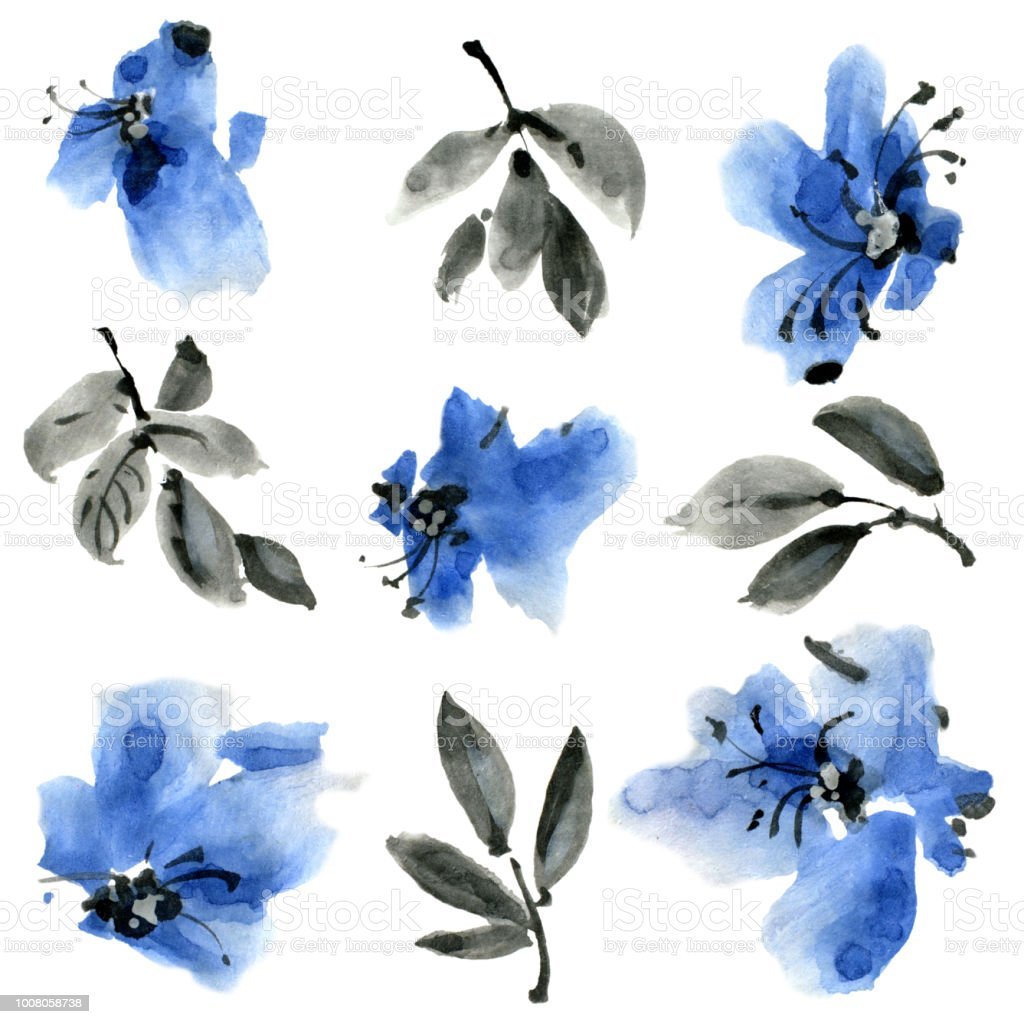 Watercolor And Ink Illustratration Of Blue Flowers With Leaves Set