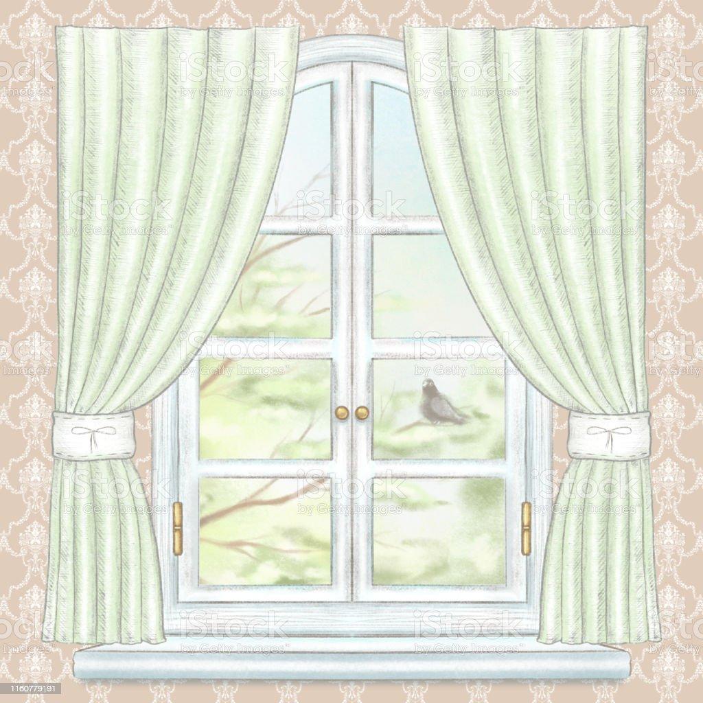 茶色の壁紙に緑のカーテンと夏の風景と水彩と鉛筆の窓