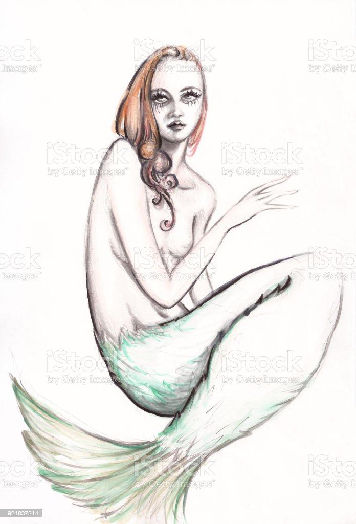 Aquarell Und Bleistift Zeichnung Meerjungfrau Porträt Mit Roten