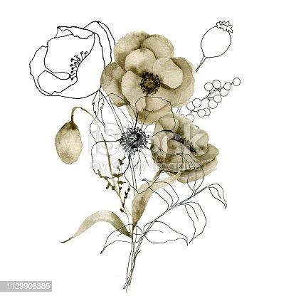 ᐈ Imagen De Conjunto De Ramo De Flores Acuarela Sepia