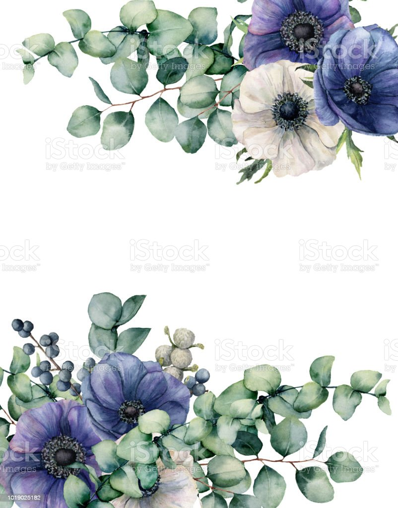 Watercolor Anemone And Eucalyptus Floral Card Hand Painted Blue And
